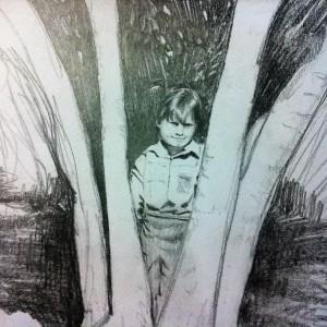 Boy in Tree Pencil Sketch